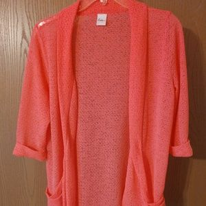 Sweaters - Coral colored cardigan women size XL
